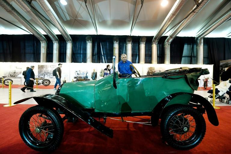 A Bebe Peugeot (1913) is displayed at the exhibition 'His Emperor Majestry Garage' of 50 old cars, in Moscow on March 10, 2017