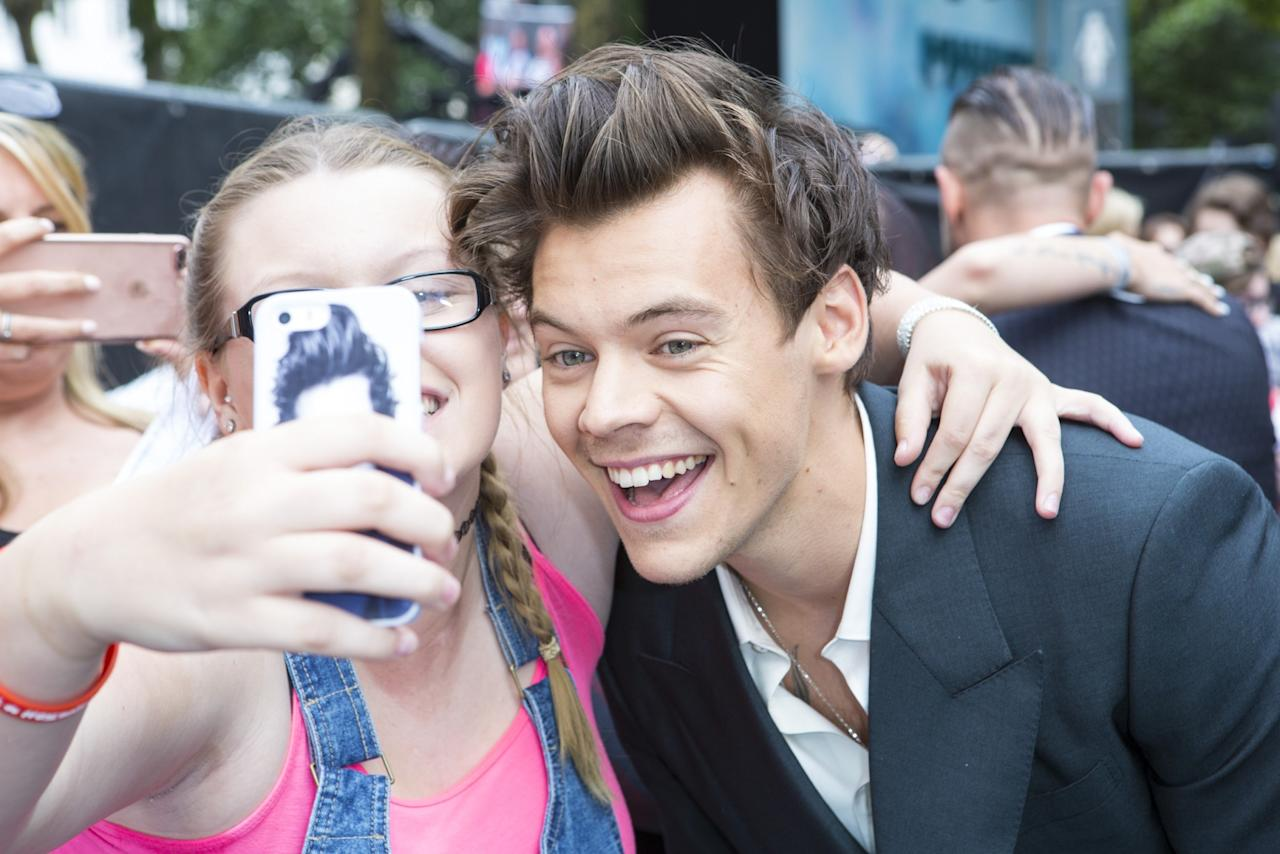 <p>A keen fan gets a selfie with Harry Styles (WB) </p>