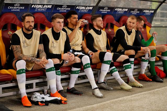 Soccer Football - Champions League Semi Final Second Leg - AS Roma v Liverpool - Stadio Olimpico, Rome, Italy - May 2, 2018 Liverpool's Danny Ings, Ben Woodburn, Dominic Solanke, Alberto Moreno, Ragnar Klavan and Simon Mignolet on the substitutes bench before the match Action Images via Reuters/John Sibley