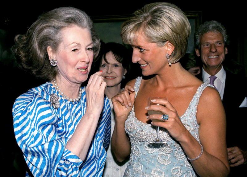 LONDON, UNITED KINGDOM - JUNE 02: Princess Diana Talking With Raine, Comtesse De Chambrun (previously Her Stepmother, Countess Raine Spencer) At A Private Viewing And Reception At Christies Of Dresses Worn By The Princess That Are For Auction To Raise Money For The Aids Crisis Trust And The Royal Marsden Hospital Cancer Fund. (Photo by Tim Graham Photo Library via Getty Images)