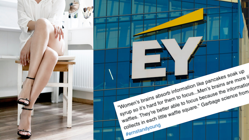 Pictured: Professional woman with legs crossed, EY building and Tweet condemning Ernst & Young. Images: Getty, Twitter