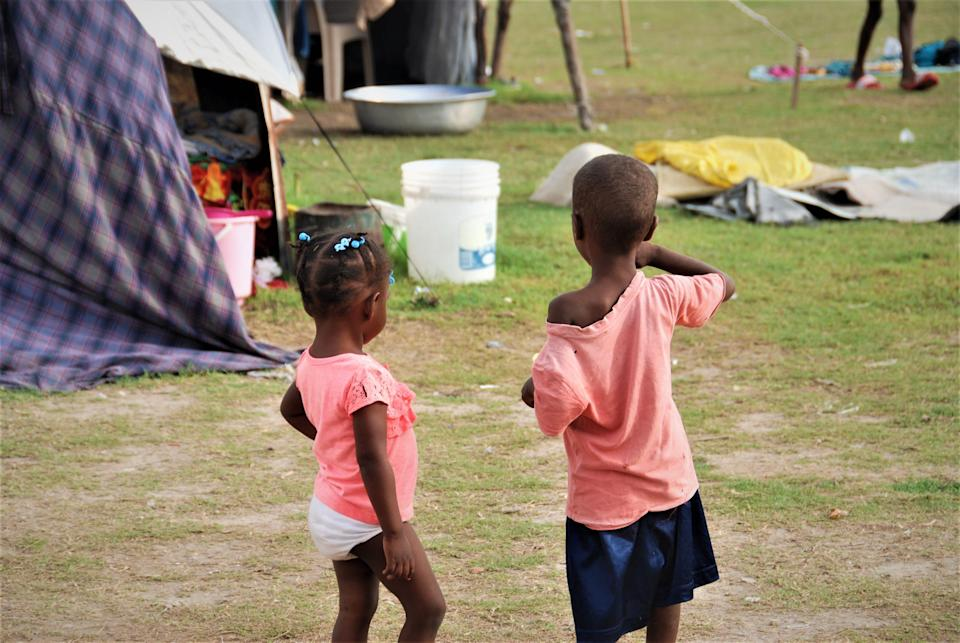 Children playing at Gabion camp in Les Cayes in Haiti.