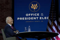 President-elect Joe Biden smiles as he meets virtually with the United States Conference of Mayors at The Queen theater Monday, Nov. 23, 2020, in Wilmington, Del. (AP Photo/Carolyn Kaster)