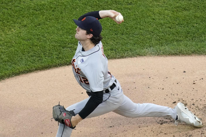 Detroit Tigers starting pitcher Casey Mize throws to a Chicago White Sox batter during the first inning of a baseball game in Chicago, Thursday, June 3, 2021. (AP Photo/Nam Y. Huh)