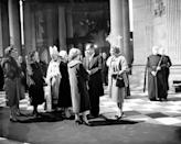The Queen Mother and Princess Margaret talking with US Vice-President Richard Nixon and Mrs. Nixon after the dedication of the American Memorial Chapel in St. Paul's Cathedral, London. At left, the Princess Royal, the Duchess of Kent, and Princess Alexandra of Kent talk with the Archbishop of Canterbury, Dr. Geoffrey Fisher. The Chapel is Britain's tribute to 28,000 members of the American Armed Forces who died in the last war in operations based in this country.