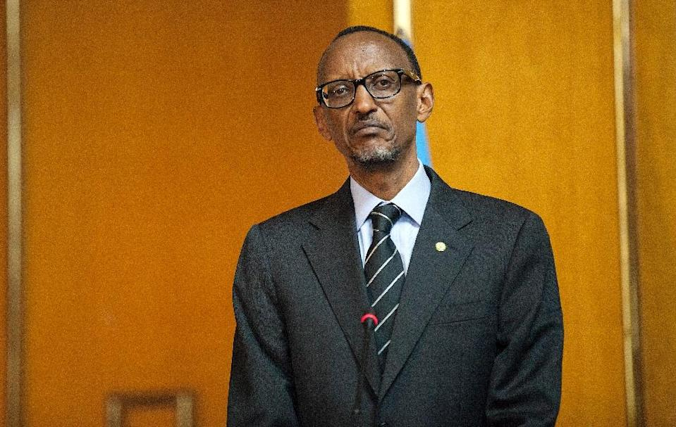 Rwandan President Paul Kagame attends a press conference with Ethiopia's Prime Minister at the National Palace in Addis Ababa, Ethiopia, on April 16, 2015. Kagame is in Ethiopia to visit some industrial sites as well as to attend the Tana High Level Forum in Bahir Dar city. AFP PHOTO / Zacharias Abubeker (AFP Photo/Zacharias Abubeker)