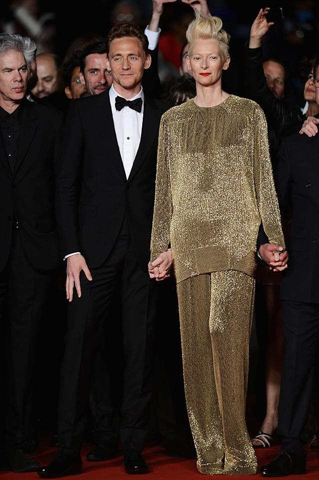 CANNES, FRANCE - MAY 25:  Actors Tom Hiddleston and Tilda Swinton attend the 'Only Lovers Left Alive' premiere during The 66th Annual Cannes Film Festival at the Palais des Festivals on May 25, 2013 in Cannes, France.  (Photo by Ian Gavan/Getty Images)