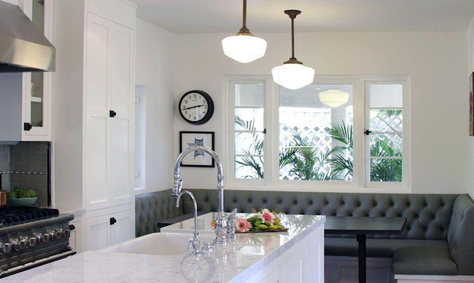 "<p>But renovating the <a href=""https://www.housebeautiful.com/design-inspiration/home-makeovers/g2234/before-after-70s-kitchen/"" rel=""nofollow noopener"" target=""_blank"" data-ylk=""slk:layout"" class=""link rapid-noclick-resp"">layout</a>, lightening up the cabinets and adding olive grey subway tile for a pop of color makes this cooking area anything but outdated.</p>"