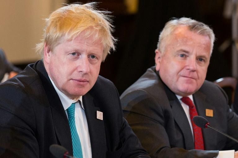 British Foreign Secretary Boris Johnson, left, met Acting US Secretary of State John Sullivan on the sidelines of the meeting to express concern over the fate of the Iran nuclear deal