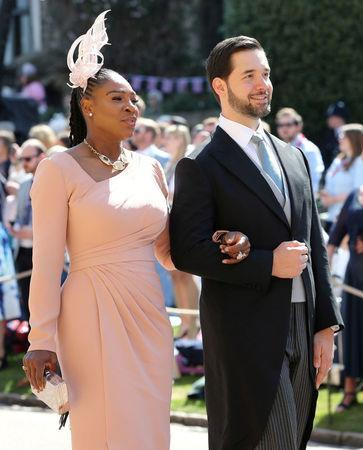 Serena Williams and Alexis Ohanian arrive at St George's Chapel at Windsor Castle for the wedding of Meghan Markle and Prince Harry in Windsor, Britain, May 19, 2018. Gareth Fuller/Pool via REUTERS