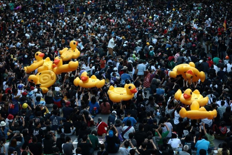 Yellow inflatable ducks are fast becoming a symbol of the Thai pro-democracy protests