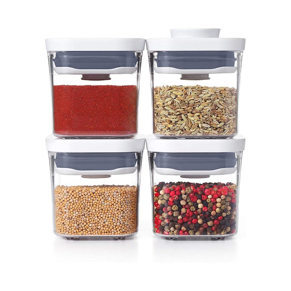 """Tiny kitchens call for efficient storing methods, and OXO's set of clear, stackable containers is a thoughtful gift for friends in small spaces. $20, Amazon. <a href=""""https://www.amazon.com/OXO-Good-Grips-4-Piece-Container/dp/B07MYYXW9V/"""" rel=""""nofollow noopener"""" target=""""_blank"""" data-ylk=""""slk:Get it now!"""" class=""""link rapid-noclick-resp"""">Get it now!</a>"""