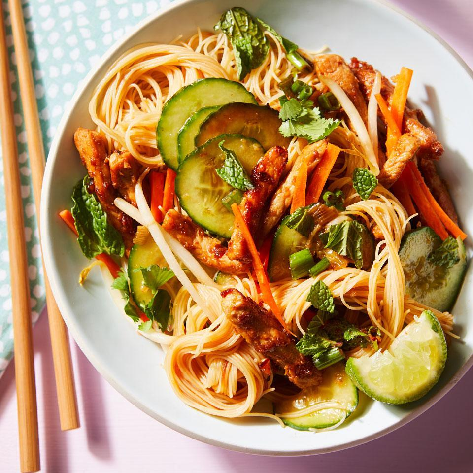 "<p>The sauce for this healthy noodle dish is made of just 3 ingredients: honey, fish sauce and store-bought chili-garlic sauce, which you can find in the Asian aisle of many grocery stores. The sauce is combined with rice noodles, pork, veggies and herbs for a simple dinner recipe that's also impressive. <a href=""http://www.eatingwell.com/recipe/273184/thai-inspired-pork-rice-noodles-with-cucumbers/"" rel=""nofollow noopener"" target=""_blank"" data-ylk=""slk:View recipe"" class=""link rapid-noclick-resp""> View recipe </a></p>"