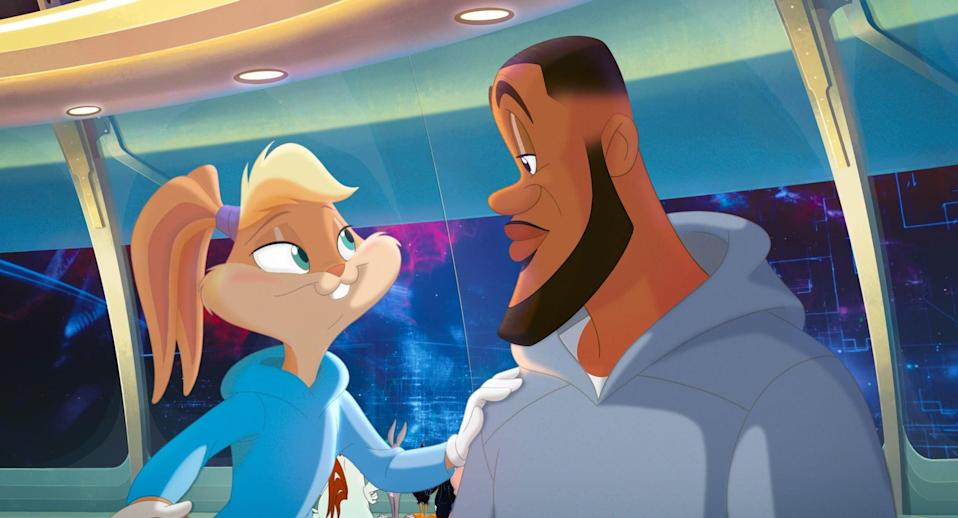 SPACE JAM: A NEW LEGACY, (aka SPACE JAM 2), from left: Lola Bunny (voice: Zendaya), LeBron James, 2021.  Warner Bros. / Courtesy Everett Collection