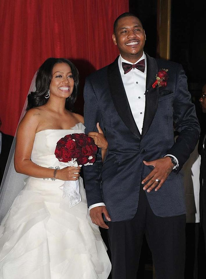 """La La Vasquez and NBA player Carmelo Anthony had such high-profile nuptials that VH1 made a TV show about them called """"La La's Full Court Wedding""""! Stars including Kim Kardashian, Serena Williams, and Justin Timberlake studded the crowd of about 320 guests at NYC's Cipriani on July 10. Jason Kempin/<a href=""""http://www.gettyimages.com/"""" target=""""new"""">GettyImages.com</a> - July 10, 2010"""