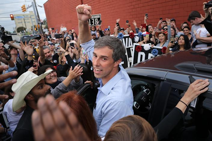 Senate candidate and Rep. Beto O'Rourke, D-Texas, pumps his fist for a cheering crowd before departing a campaign rally at the Alamo City Music Hall on Sunday in San Antonio, Texas. (Photo: Chip Somodevilla/Getty Images)