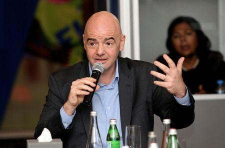 FIFA President Gianni Infantino gestures during a media roundtable in Doha