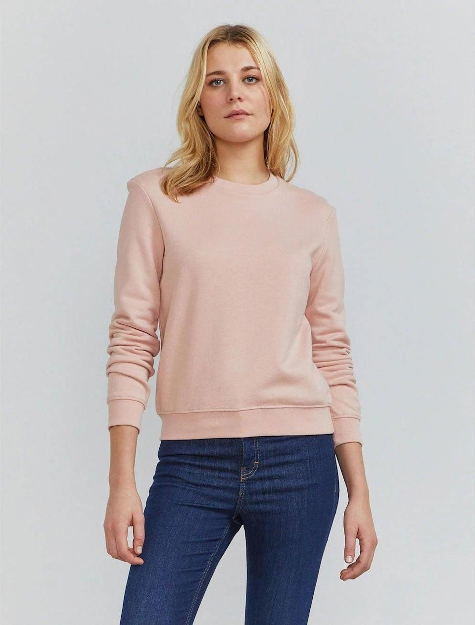 """<br><br><strong>Ninety Percent</strong> Organic Cotton Classic-fit Sweatshirt, $, available at <a href=""""https://ninetypercent.com/collections/loungewear/products/classic-ls-crew-sweatshirt"""" rel=""""nofollow noopener"""" target=""""_blank"""" data-ylk=""""slk:Ninety Percent"""" class=""""link rapid-noclick-resp"""">Ninety Percent</a>"""