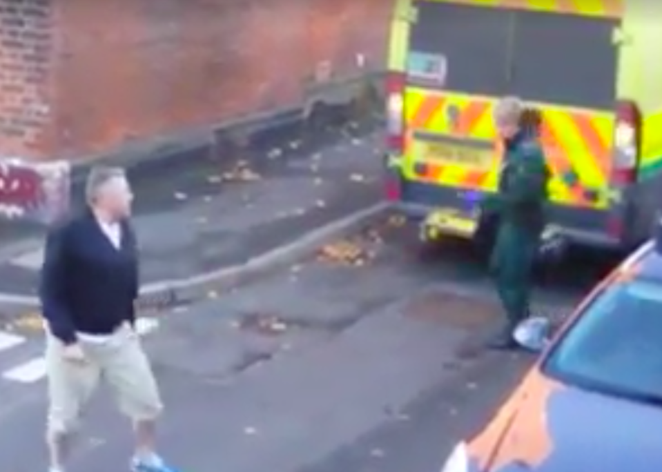 <em>The pair clashed over the ambulance being parked in a narrow road (Facebook)</em>