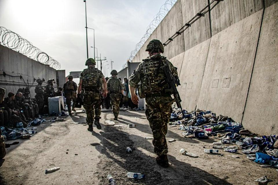 UK Armed Forces taking part in the evacuation of entitled personnel from Kabul airport (MoD) (PA Media)