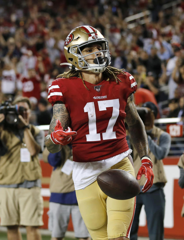 San Francisco 49ers wide receiver Jalen Hurd celebrates after scoring against the Dallas Cowboys during the second half of an NFL preseason football game in Santa Clara, Calif., Saturday, Aug. 10, 2019. (AP Photo/Josie Lepe)