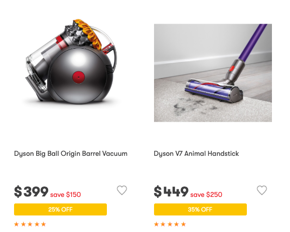 Dyson products have been reduced. Source: Big W