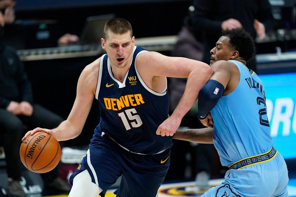 Nuggets center Nikola Jokic is the MVP frontrunner because of stats like these: 26.4 points per game, 11.1 rebounds per game, 8.1 assists per game, 42% shooting from the 3-point territory.