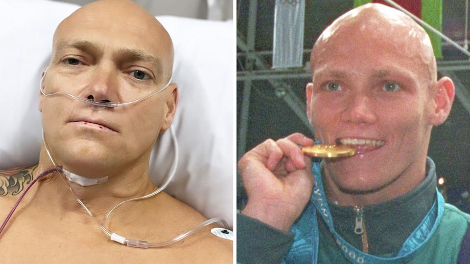 Former Olympic champion Michael Klim is recovering from surgery to remove a cyst from his throat at the Chris O'Brien Lifehouse, a cancer treatment centre in Sydney's inner-west. Pictures: Instagram/Getty Images