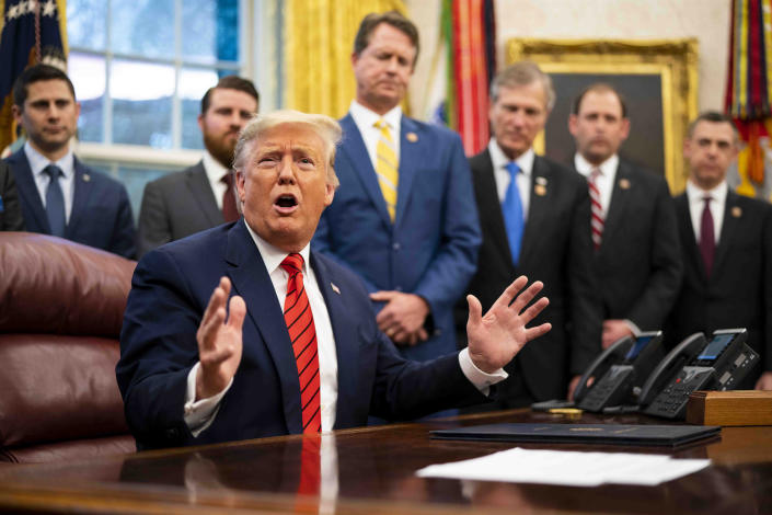 President Donald Trump speaks to reporters at the White House in Washington, Feb 11, 2020. (Doug Mills/The New York Times)
