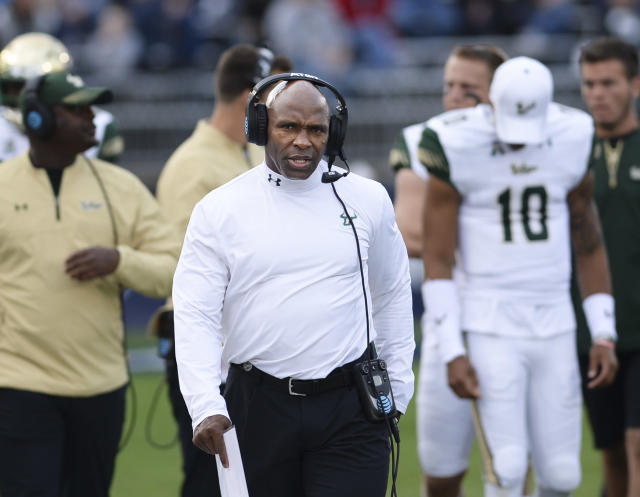 South Florida head coach Charlie Strong works the sidelines in the game against Connecticut on Saturday, Nov. 4, 2017, in East Hartford, Conn. (AP Photo/Stephen Dunn)