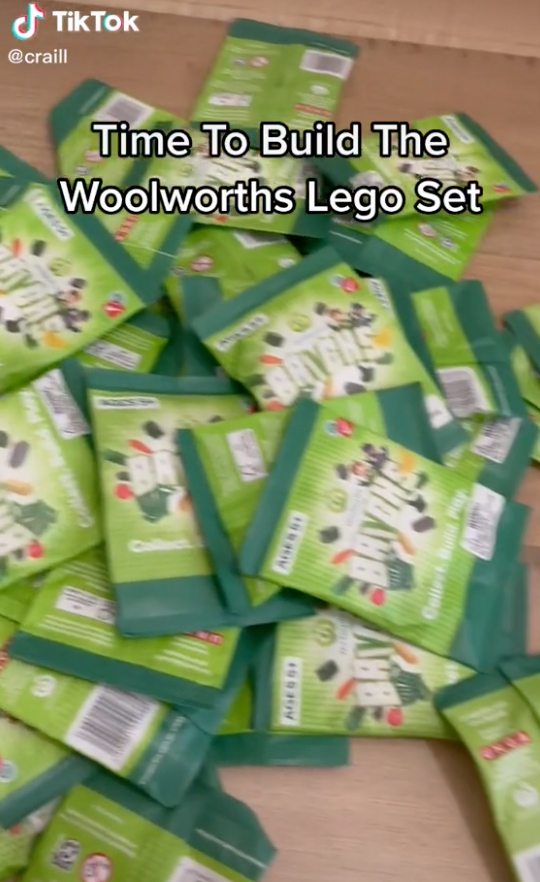 TikTok showing woolworths bricks collectables