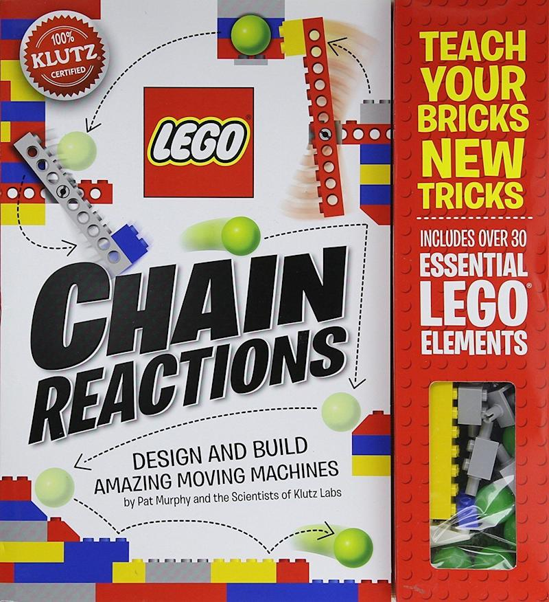 "Design and build 10 amazing <a href=""https://www.amazon.com/Klutz-LEGO-Chain-Reactions-Craft/dp/0545703301"" target=""_blank"">moving machines</a> with this chain reactions kit."