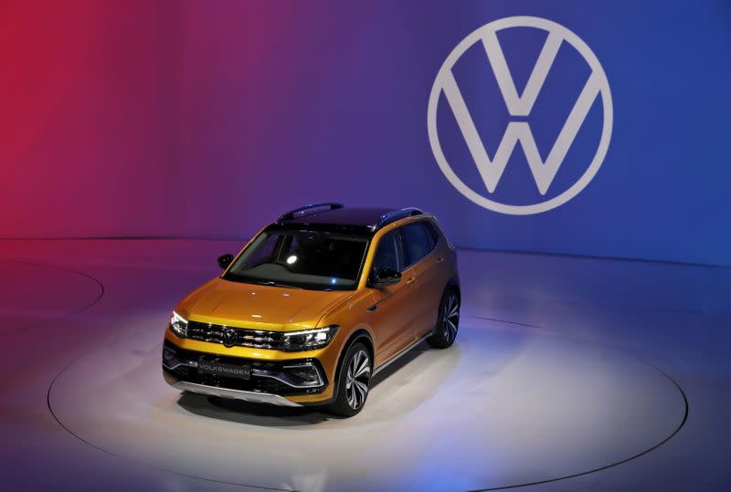 Volkswagen Taigun compact SUV car is on display after it was unvield at an event in New Delhi