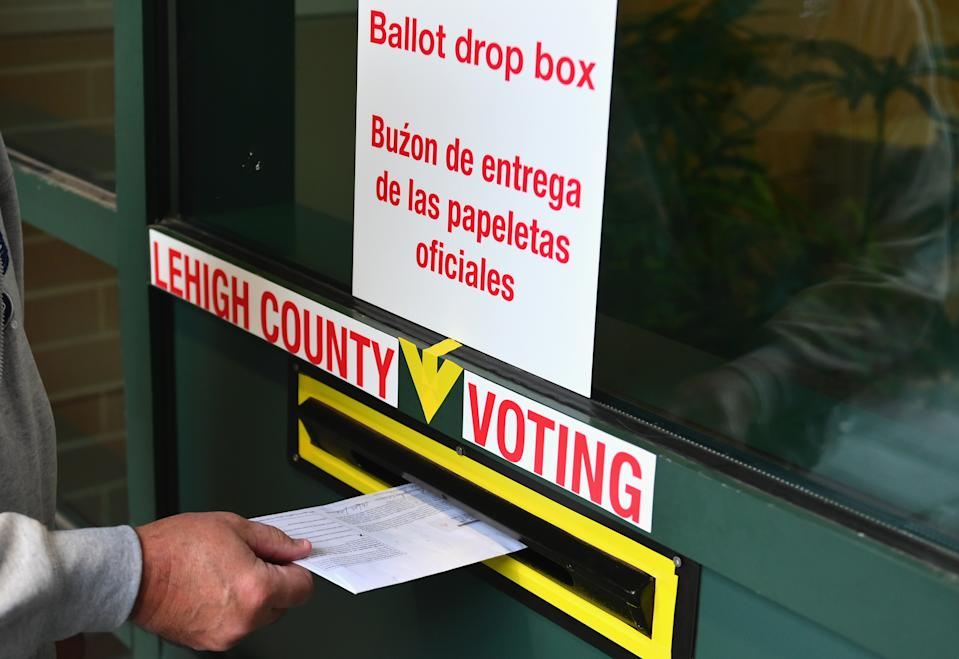 A voter arrives to drop off his ballot during early voting in Allentown, Pennsylvania on October 29, 2020. (Photo by Angela Weiss / AFP) (Photo by ANGELA WEISS/AFP via Getty Images)