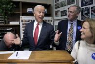Democratic presidential candidate former Vice President Joe Biden speaks to the media as he files to have his name listed on the New Hampshire primary ballot, Friday, Nov. 8, 2019, in Concord, N.H. (AP Photo/Charles Krupa)