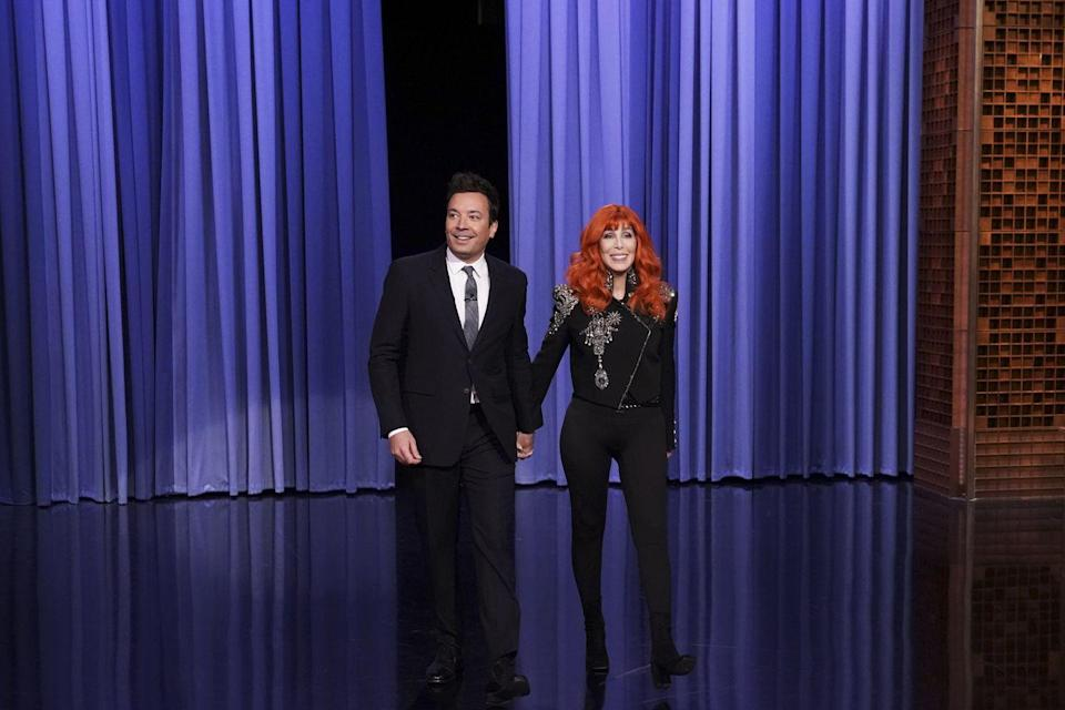 <p>In an embellished jacket with black skinny jeans and boots for an appearance on the Tonight Show Starring Jimmy Fallon. </p>