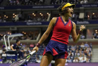 Emma Raducanu, of Great Britain, reacts after scoring a point against Maria Sakkari, of Greece, during the semifinals of the US Open tennis championships, Thursday, Sept. 9, 2021, in New York. (AP Photo/Frank Franklin II)