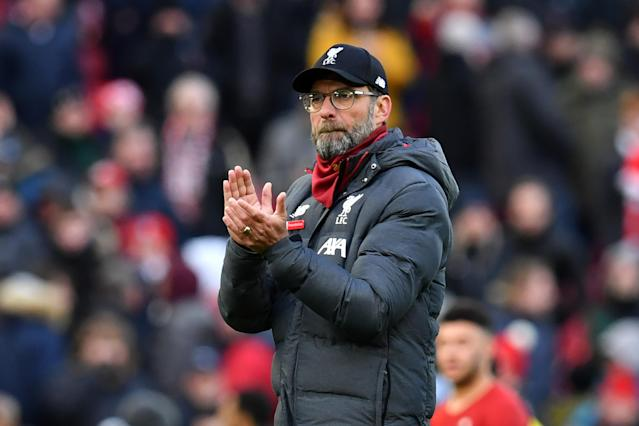Liverpool's German manager Jurgen Klopp gestures at the final whistle. (Credit: Getty Images)