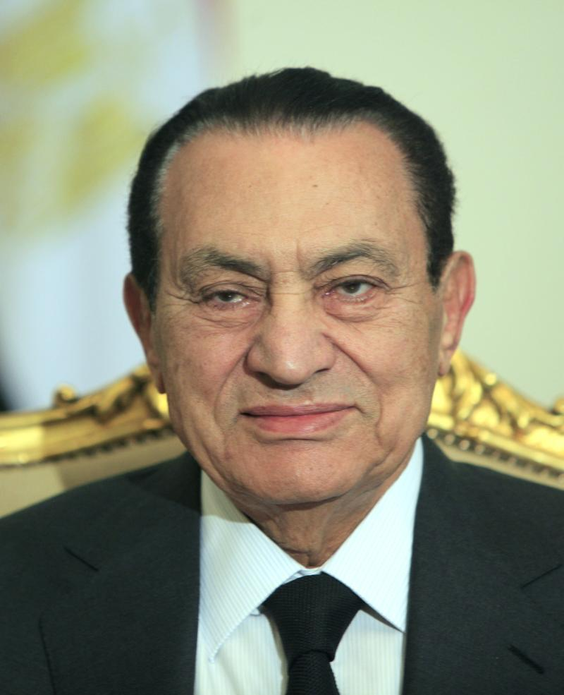 FILE - In this Feb. 8, 2011 file photo, Egyptian President Hosni Mubarak sits during his meeting with Emirates foreign minister, not pictured, at the Presidential palace in Cairo, Egypt. Egypt's vice president says Mubarak resigned on Friday, Feb. 11, 2011 as president and handed control to the military. (AP Photo/Amr Nabil, File)