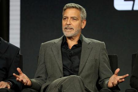 "Actor, executive producer, and director George Clooney speaks on a panel for the Hulu series ""Catch-22"", during the Television Critics Association (TCA) Winter Press Tour in Pasadena"
