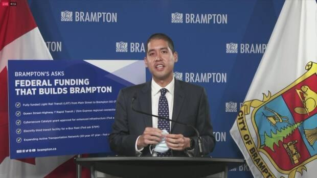 At a press conference today in Brampton City Hall, Peel's medical officer of health Dr. Lawrence Loh announced new measures to curb transmission in the community, and also called on the province to introduce vaccine certificates. (CBC - image credit)