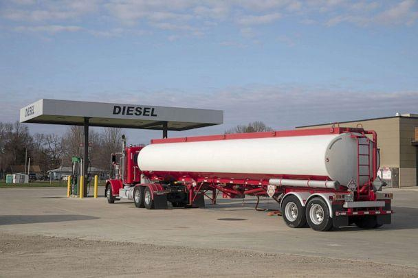 PHOTO: A tanker truck sits parked outside a Phillips 66 gas station as fuel is delivered in Princeton, Ill., April 1, 2020. (Bloomberg via Getty Images, FILE)