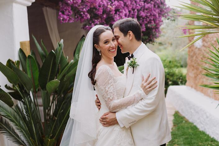 Aram and I in the gardens of Atzaro for the reception. We are so happy!