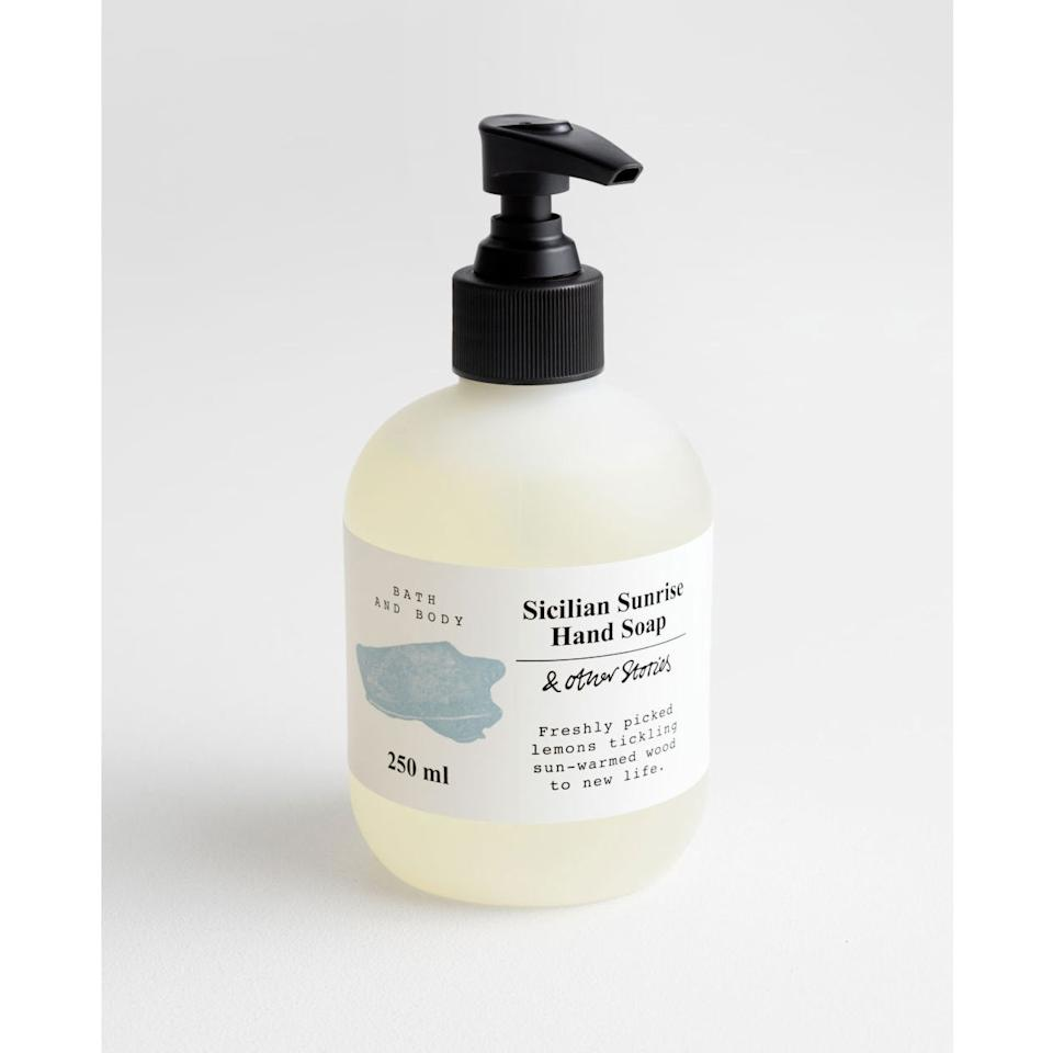 """<p>Pretty packaging aside, & Other Stories' Sicilian Sunrise Hand Soap is a great go-to because it contains hydrating glycerin, as well as moisturizing shea butter, meadowfoam seed oil, and sweet almond oil, which seal hydration in the skin. It also smells like a lemon tree, which is a welcome boost of freshness.</p> <p><strong>$8</strong> (<a href=""""https://www.stories.com/en_usd/beauty/bath-body/product.hand-soap-turquoise.0159486041.html"""" rel=""""nofollow"""">Shop Now</a>)</p>"""