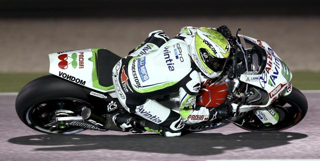 Avintia Racing MotoGP rider Hector Barbera of Spain rides his bike during a free practice session at the MotoGP World Championship at the Losail International circuit in Doha March 21, 2014. REUTERS/Fadi Al-Assaad (QATAR - Tags: SPORT MOTORSPORT)