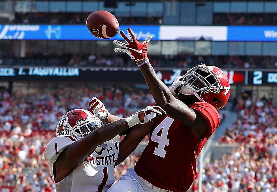 Alabama wide receiver Jerry Jeudy absolutely fits what NFL teams are seeking at receiver. (Getty Images)