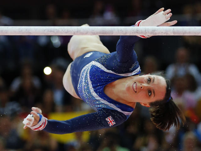 Elizabeth Tweddle of Britain competes in the women's gymnastics asymmetric bars final in the North Greenwich Arena during the London 2012 Olympic Games August 6, 2012. REUTERS/Mike Blake (BRITAIN - Tags: SPORT OLYMPICS SPORT GYMNASTICS)