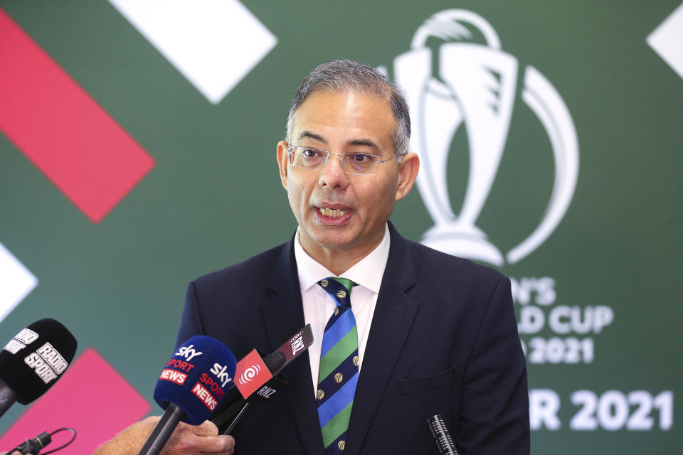 File Photo: ICC CEO Manu Sawhney speaks to media in Wellington. (Photo by Hagen Hopkins/Getty Images)