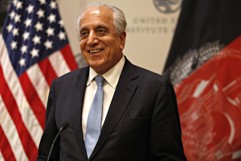Special Representative for Afghanistan Reconciliation Zalmay Khalilzad approaches the microphone to speak on the prospects for peace, Friday, Feb. 8, 2019, at the U.S. Institute of Peace, in Washington. (AP Photo/Jacquelyn Martin)
