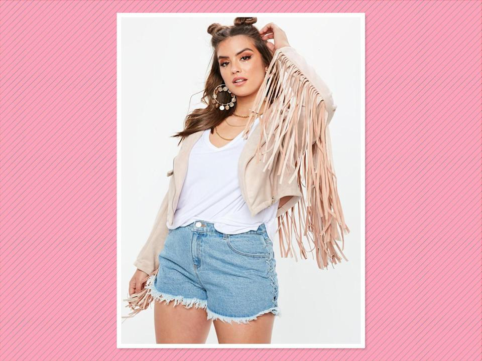 """<p>Curve Stone Faux Suede Fringed Biker Jacket, $77, <a href=""""https://www.missguidedus.com/curve-stone-faux-suede-fringed-biker-jacket-10097460"""" rel=""""nofollow noopener"""" target=""""_blank"""" data-ylk=""""slk:Missguided"""" class=""""link rapid-noclick-resp"""">Missguided</a> (Photo: Missguided) </p>"""